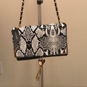 NWT Bebe Faux Snakeskin Adjustable Crossbody Bag